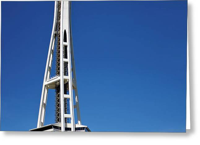 Seattle Space Needle Greeting Card by Adam Romanowicz