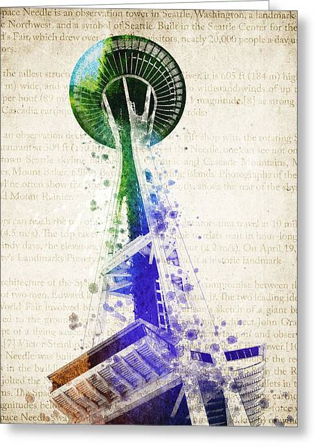 Seattle Waterfront Greeting Cards - Seattle Space Needle Greeting Card by Aged Pixel