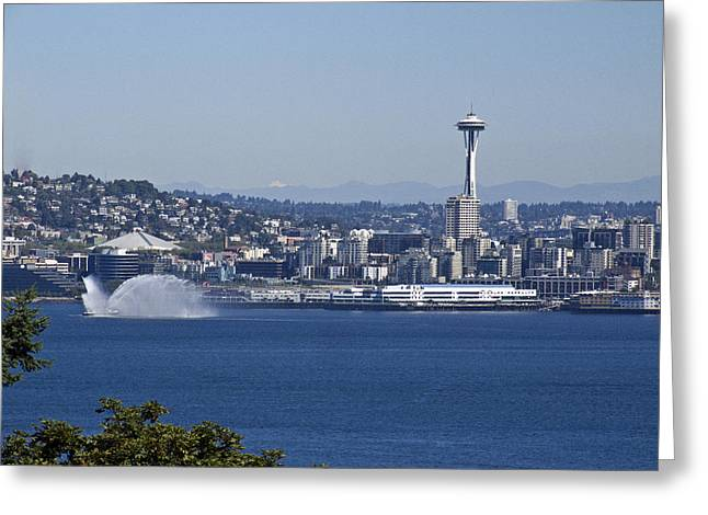 Space Needle Framed Prints Greeting Cards - Seattle Space Needle and Fire Boat Greeting Card by Ron Roberts