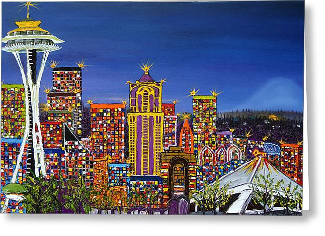 Microsoft. Paintings Greeting Cards - Seattle Space Needle At Dusk Greeting Card by James Dunbar