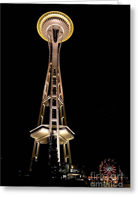 City Lights Greeting Cards - Seattle Space Needle at Night Greeting Card by David Smith
