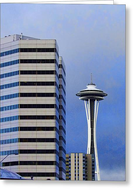 Space Needle Framed Prints Greeting Cards - Seattle Space Needle Greeting Card by Ron Roberts