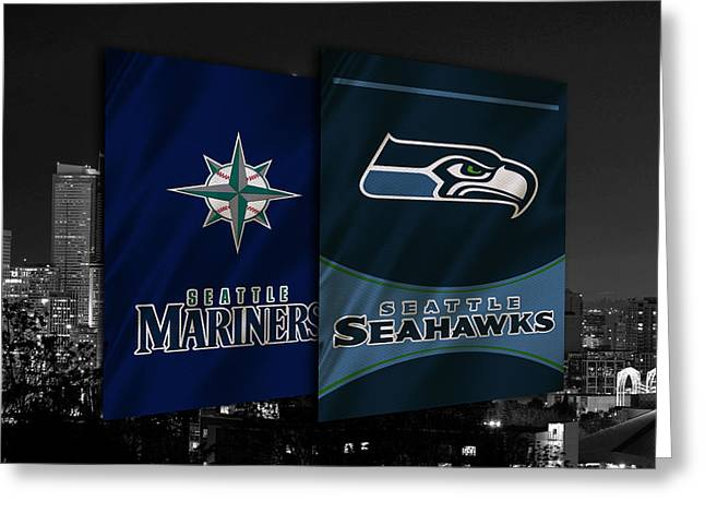 Seattle Sports Teams Greeting Card by Joe Hamilton
