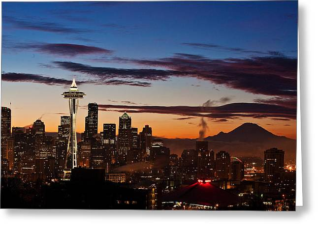 Washington State Greeting Cards - Seattle Sunrise Greeting Card by Mike Reid