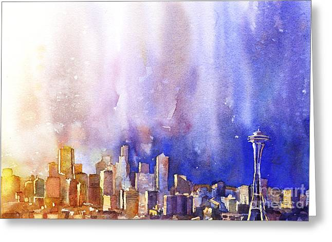 Wet Into Wet Watercolor Greeting Cards - Seattle Sunrise Greeting Card by Ryan Fox
