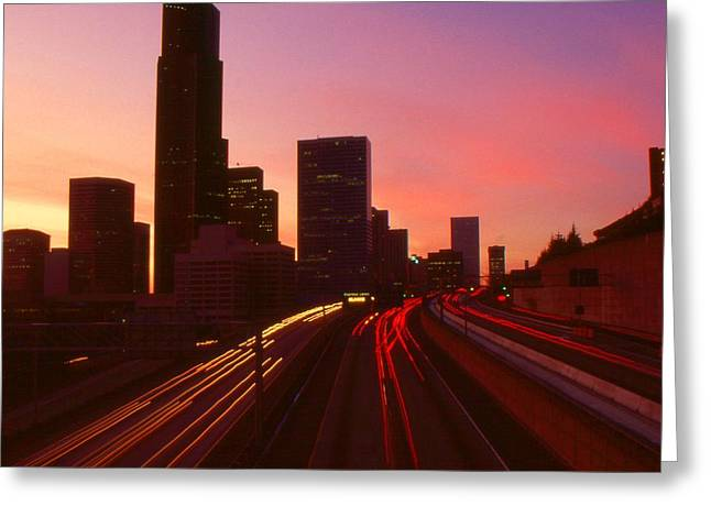 Seattle Skyline Framed Prints Greeting Cards - Seattle Sunset - City Color Photo Greeting Card by Peter Fine Art Gallery  - Paintings Photos Digital Art