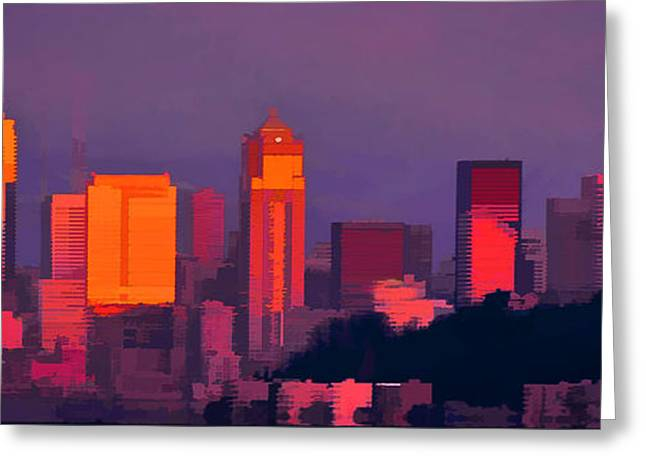 Topaz Greeting Cards - Seattle Sunset Greeting Card by Dale Stillman