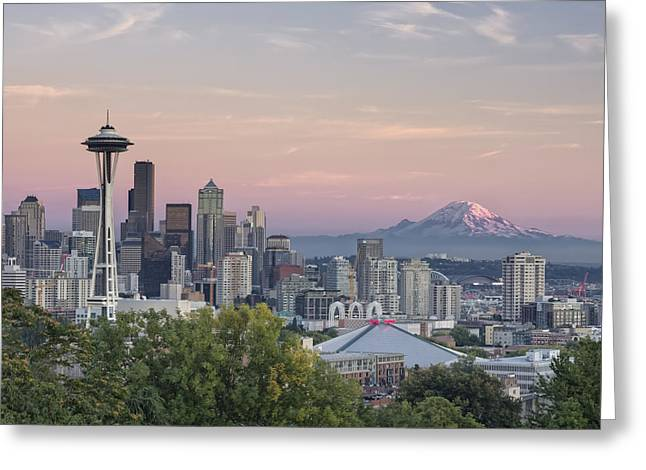 Downtown Seattle Greeting Cards - Seattle Sunset Greeting Card by Kyle Wasielewski