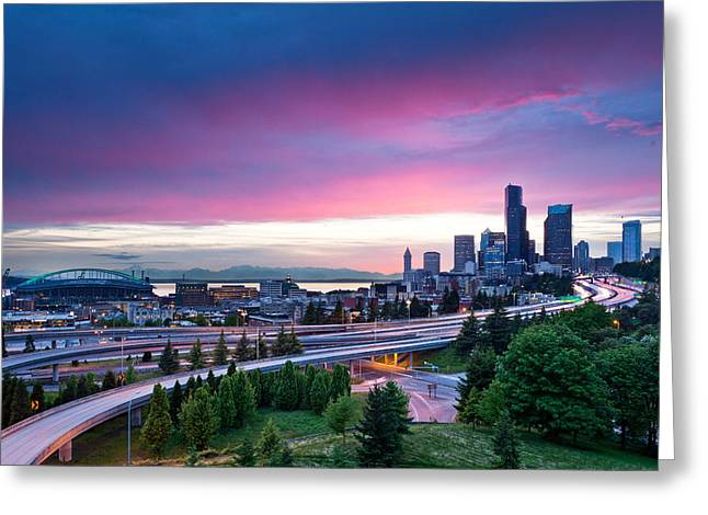 Olympic Mountains Greeting Cards - Seattle Sunset Greeting Card by Thorsten Scheuermann