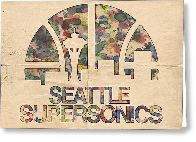 Slamdunk Greeting Cards - Seattle Supersonics Poster Vintage Greeting Card by Florian Rodarte