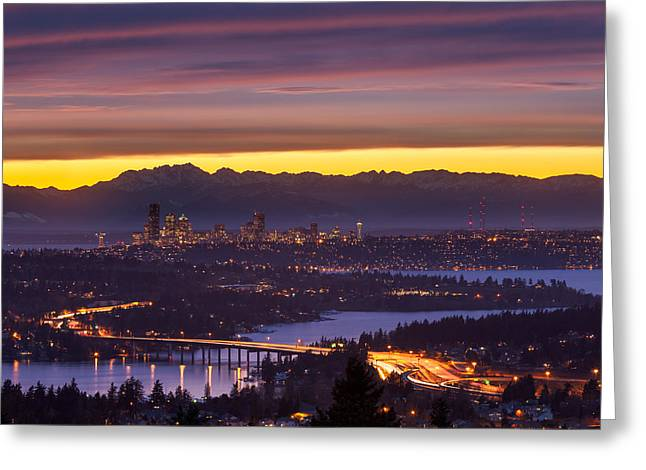 Bellevue Greeting Cards - Seattle Twilight Greeting Card by Thorsten Scheuermann