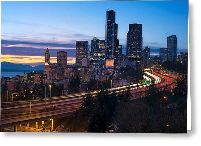 Union Square Greeting Cards - Seattle Twilights Greeting Card by Ryan Manuel