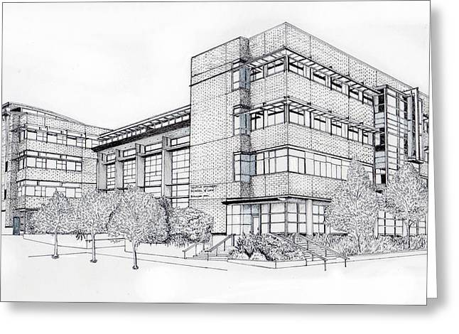 Brick Buildings Drawings Greeting Cards - Seattle University Law School Greeting Card by Inger Hutton