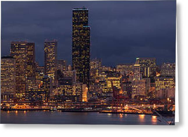 Seattle Skyline Greeting Cards - Seattle Urban Details Dusk Greeting Card by Mike Reid