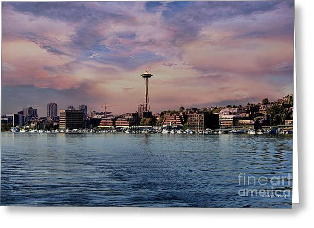Lake Union Greeting Cards - Seattle View Greeting Card by Cheryl Young