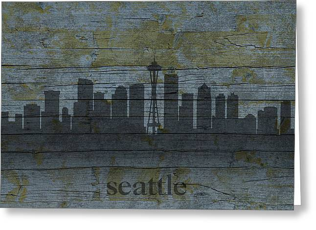 Seattle Mixed Media Greeting Cards - Seattle Washington City Skyline Silhouette Distressed on Worn Peeling Wood Greeting Card by Design Turnpike