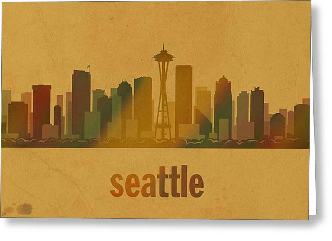 Seattle Mixed Media Greeting Cards - Seattle Washington City Skyline Watercolor On Parchment Greeting Card by Design Turnpike