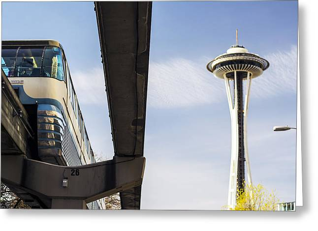 Seattle Washington Monorail And Space Needle Greeting Card by Michael DeMello