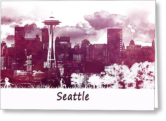 Seattle Skyline Greeting Cards Greeting Cards - Seattle Washington skyline Greeting Card by Justyna JBJart