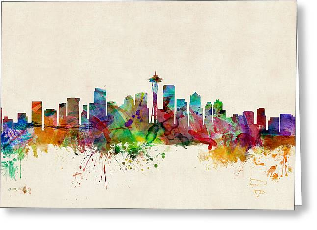 Urban Watercolour Greeting Cards - Seattle Washington Skyline Greeting Card by Michael Tompsett