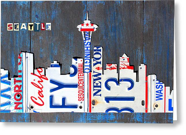 Metal Art Greeting Cards - Seattle Washington Space Needle Skyline License Plate Art by Design Turnpike Greeting Card by Design Turnpike