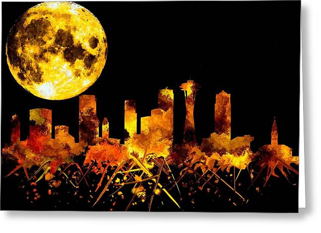 Seattle Skyline Mixed Media Greeting Cards - Seattle Watercolor Greeting Card by Daniel Janda