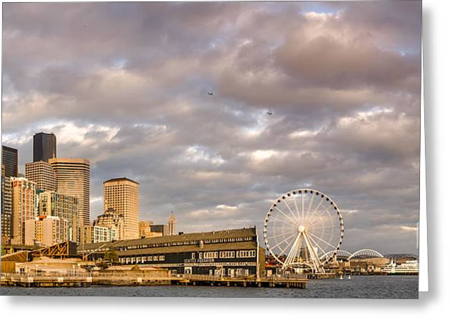 Seattle Waterfront Bathed In Golden Hour - Seattle Skyline - Puget Sound Washington State Greeting Card by Silvio Ligutti