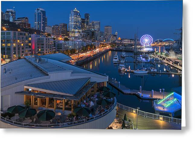 Seattle Waterfront Greeting Cards - Seattle Waterfront Blue Hour Greeting Card by Michael Gass