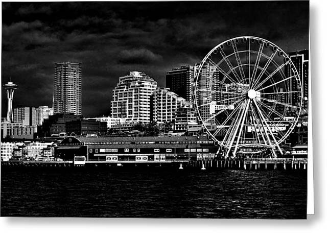 Seattle Waterfront Greeting Cards - Seattle Waterfront in Black and White Greeting Card by Benjamin Yeager