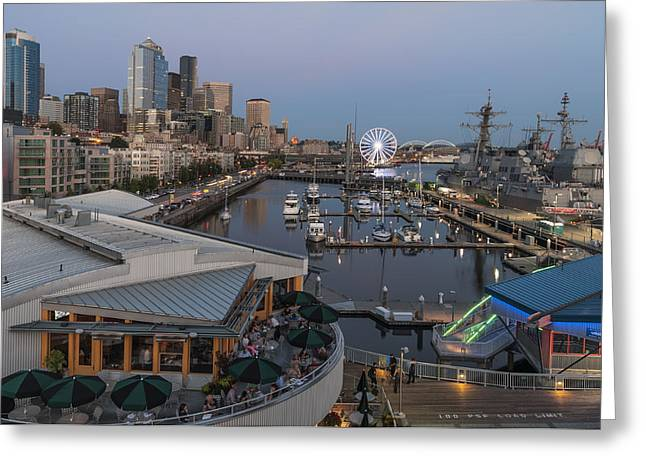 Seattle Waterfront Greeting Cards - Seattle Waterfront Twilight Greeting Card by Michael Gass