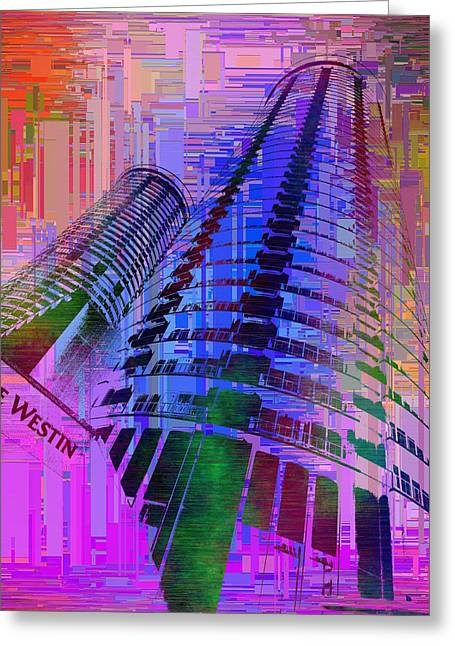Purple Abstract Beige Greeting Cards - Seattle Westin Cubed 1 Greeting Card by Tim Allen