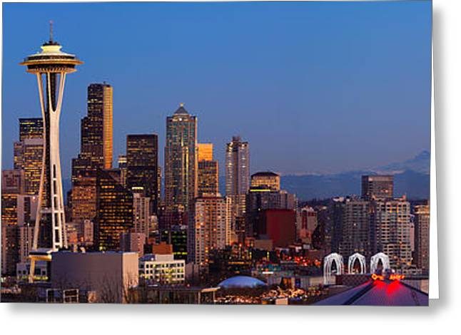 City Lights Greeting Cards - Seattle Winter Evening Panorama Greeting Card by Inge Johnsson