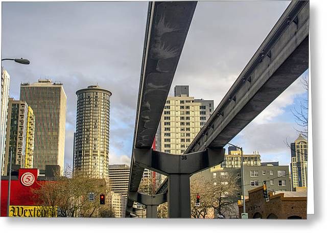 Seattle's 5th Avenue Monorail Greeting Card by Michael DeMello