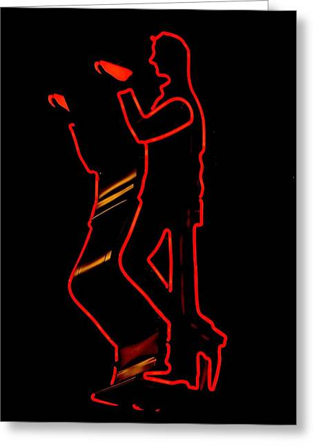 Advertisment Greeting Cards - Seattles Drinking Man Greeting Card by Benjamin Yeager