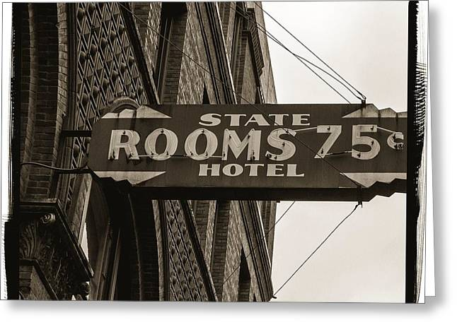 Seattle's Pioneer Square - Historic State Hotel Greeting Card by Jordan Blackstone