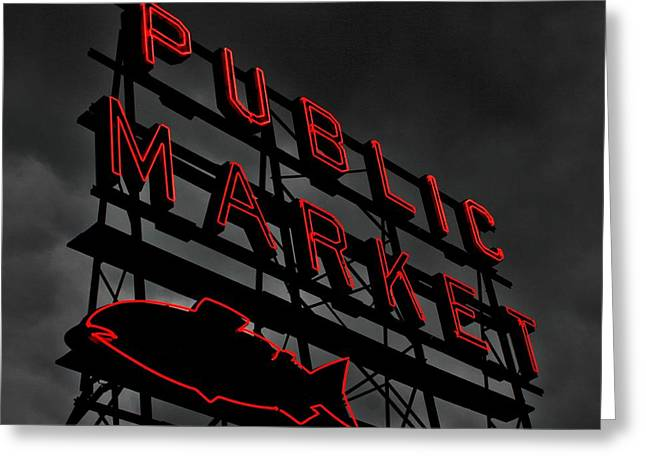 Seattle Landmarks Greeting Cards - Seattles Public Market Greeting Card by Benjamin Yeager