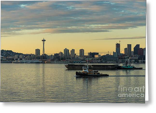 Seattle Skyline Greeting Cards - Seattles Working Harbor Greeting Card by Mike Reid