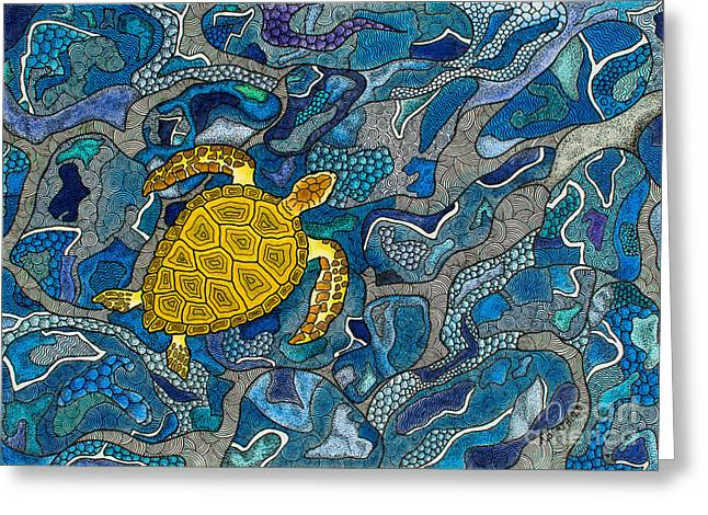 Wild Life Drawings Greeting Cards - Sea Turtle Impression Greeting Card by Andreas Berthold