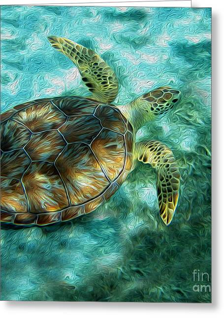 Sea Life Mixed Media Greeting Cards - SeaTurtle Painting Greeting Card by Jon Neidert