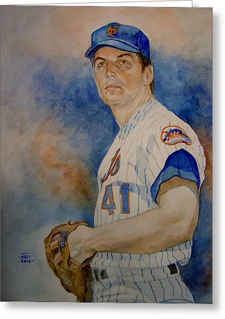 Tom Seaver Greeting Cards - Seaver Greeting Card by Nigel Wynter