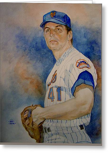 Hall Of Famer Greeting Cards - Seaver Greeting Card by Nigel Wynter