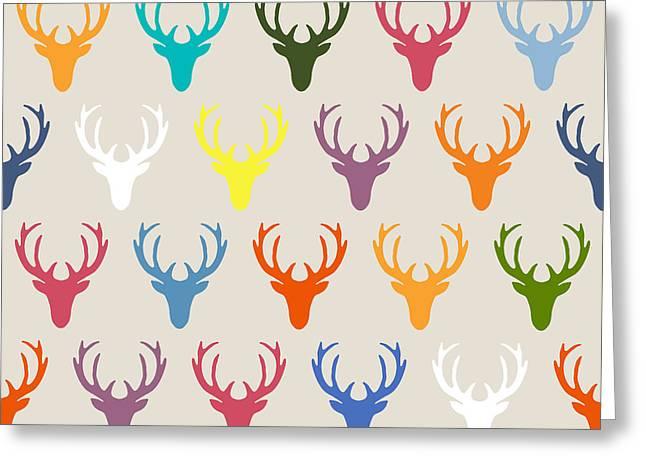 Seaview Simple Deer Heads Greeting Card by Sharon Turner