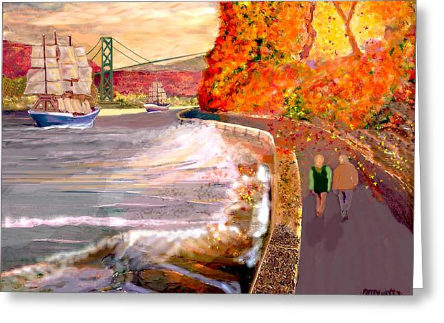 Vancouver Mixed Media Greeting Cards - Seawall Stroll Greeting Card by Steve A Halinda