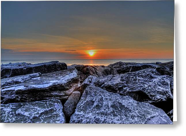 Seawall Greeting Cards - Seawall Sunrise Greeting Card by Bill Cannon