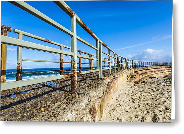 Seawall Greeting Cards - Seawall Walk Greeting Card by Joseph S Giacalone
