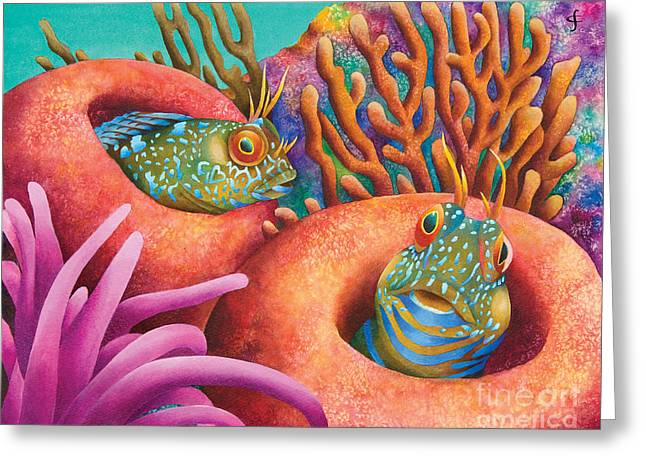 Marine Animals Greeting Cards - Seaweed Blennies Greeting Card by Carolyn Steele