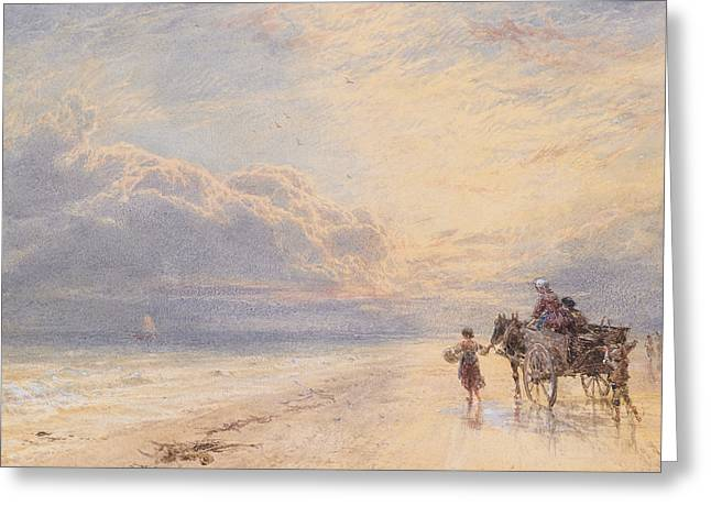 Horse And Cart Paintings Greeting Cards - Seaweed Gatherers Greeting Card by Myles Birket Foster