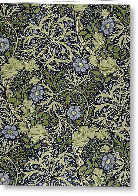 Foliage Tapestries - Textiles Greeting Cards - Seaweed Pattern Greeting Card by William Morris
