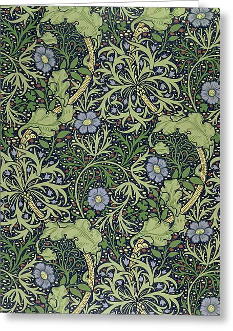 Textiles Tapestries - Textiles Greeting Cards - Seaweed wallpaper design Greeting Card by William Morris
