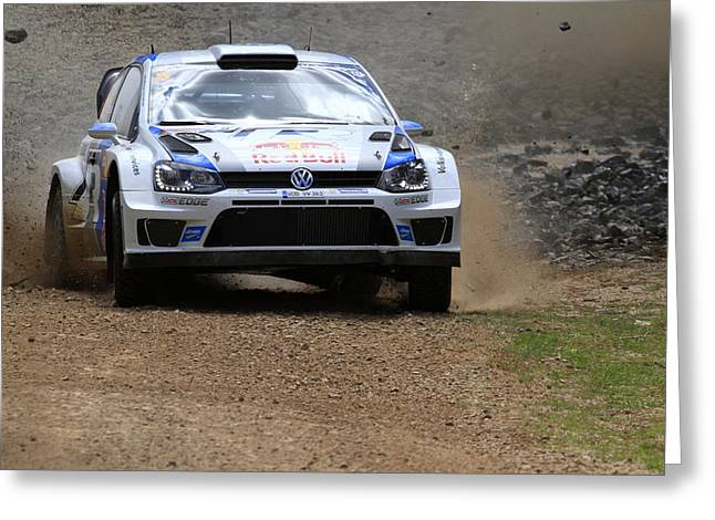 World Rally Championship Greeting Cards - Sebastian Ogier Fia World Rally Championship Australia Greeting Card by Noel Elliot